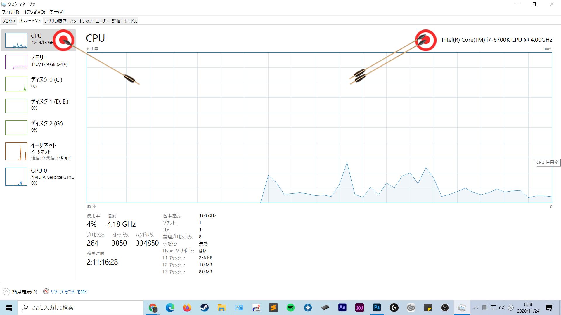 CPU スペックを確認